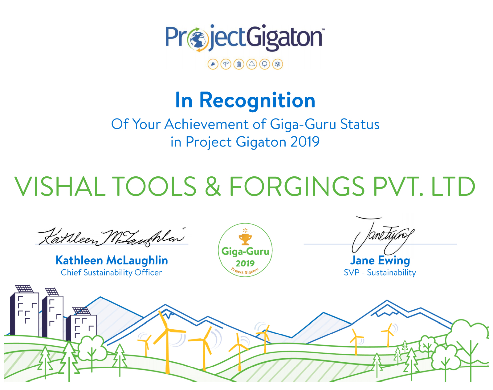 Vishal Tools & Forgings Pvt Ltd's 2020 Sustainability certificate