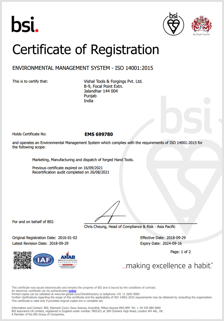 Vishal Tools & Forgings Pvt Ltd's ISO certificate