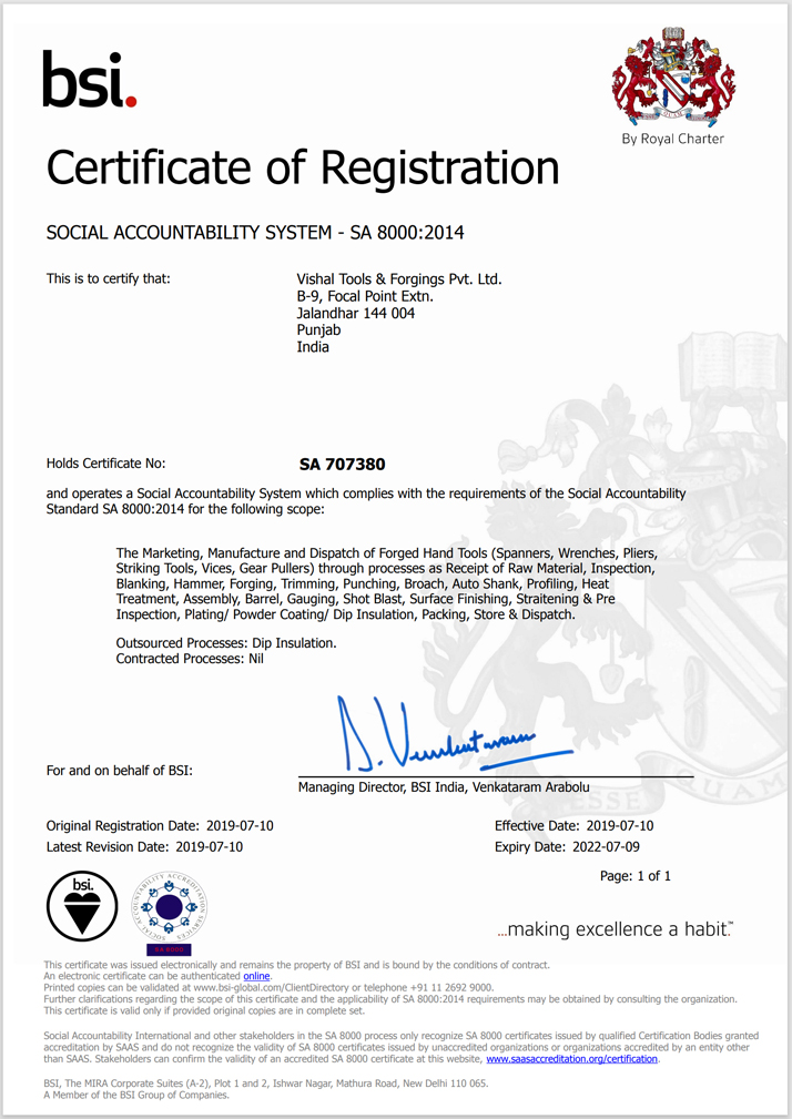 Vishal Tools & Forgings Pvt Ltd's SA-8000 certificate